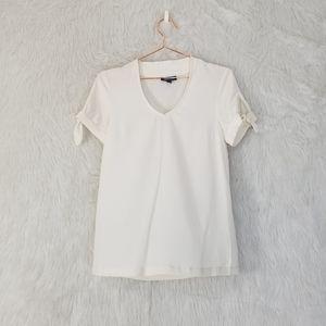 Modcloth Cream V-Neck Short Sleeve Blouse